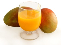 tasty,tripical mangoes and smoothie as tasty dessert
