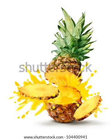 Tasty tropical pineapple slices juice burst