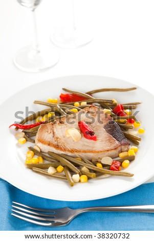 tasty tuna steak prepared whith fresh vegetables