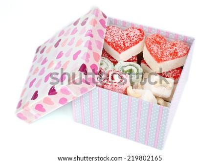 Tasty Turkish delight in present box isolated on white Stockfoto ©