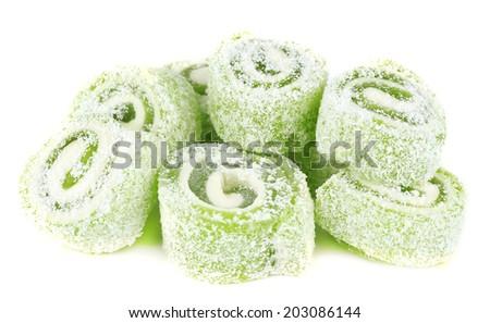 Tasty Turkish delight isolated on white Stockfoto ©