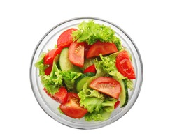 Tasty vegetable salad in bowl on white background