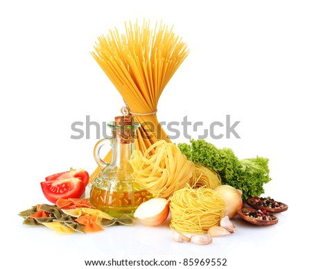tasty vermicelli, spaghetti and vegetables isolated on white