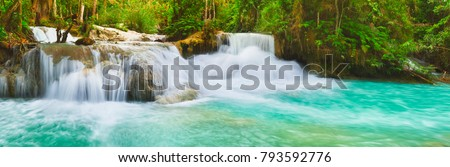 Tat Kuang Si Waterfalls. Beautiful panorama landscape. Luang Prabang, Laos.