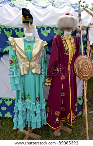 Tatar and Bashkir traditional clothing at the traditional house