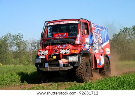 TATARSTAN, RUSSIA - JUNE 15: Giulio Verzeletti's Unimog (No. 429) competes at the rally Transorientale 2008 on June 15, 2008 near town of Naberezhnye Chelny, Tatarstan, Russia.