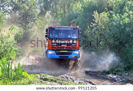 TATARSTAN, RUSSIA - JUNE 15: Hans Bekx's DAF CF (No. 407, Hans Bekx Team Sport) competes at the Rally Transorientale 2008 on June 15, 2008 near city of Naberezhnye Chelny, Tatarstan, Russia.