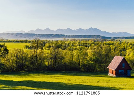 Tatra mountains in Slovakia with cabin view #1121791805