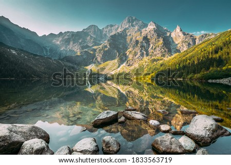 Tatra National Park, Poland. Famous Mountains Lake Morskie Oko Or Sea Eye Lake In Summer Morning. Five Lakes Valley. Beautiful Scenic View. European Nature. UNESCO's World Network of Biosphere Stock fotó ©