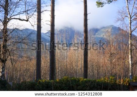 Tatranska Lomnica, Slovakia, November 17, 2018, Tatranska Lomnica City view of the High Tatras and Lomnicky peak #1254312808