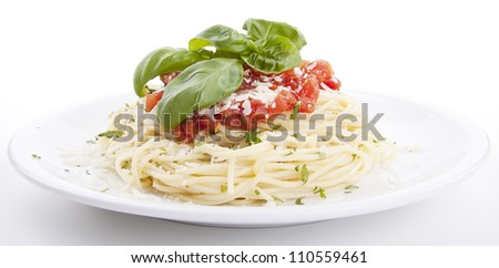 tatsty fresh spaghetti with tomato sauce and parmesan isolated on white background