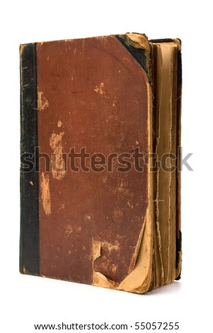 tattered book isolated on white background close up