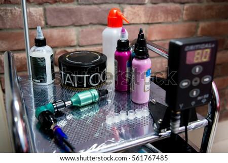 Tattoo accessories in tattoo studio. Close-up #561767485