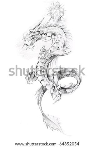 Tattoo art, sketch of a dragon