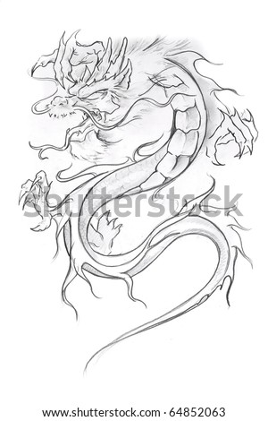 Medieval tattoo stock photo : Tattoo art, sketch of a medieval dragon