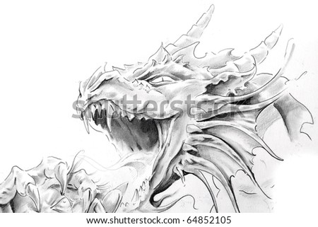 stock photo : Tattoo art, sketch of a medieval dragon