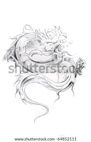 Tattoo art, sketch of an oriental dragon
