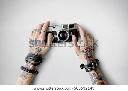 Stock Photo Tattoo Camera Photography Media Creative Film Concept
