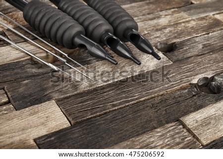 Tattoo Needles On Wooden Background Stock Image Macro Ez Canvas