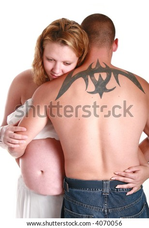 stock photo tattoo on mans back and holding his pregnant girlfriend 4070056 MySpace Comments sexy woman. sexy woman! sexy woman