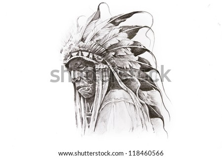Tattoo Sketch Of Native American Indian Warrior, Hand Made Stock Photo ...  Native American Warrior Symbols