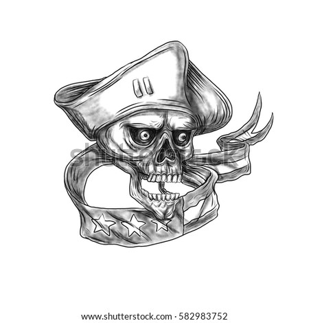 Tattoo style illustration of a skull patriot wearing hat viewed from front with USA stars and stripes ribbon flag set on isolated white background.