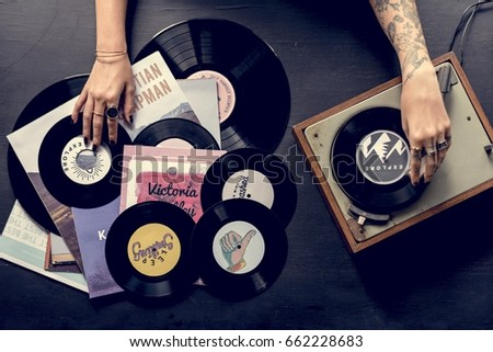 Tattoo Woman with Music Vinyl Record Disc with Player