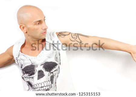 tattooed man  on a white background