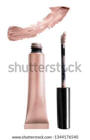 Taupe beige mat concealer and color swatch isolated over white #1344176540