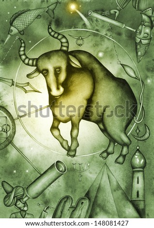 Taurus. Collection of Zodiac Signs. Illustration by Eugene Ivanov. - stock photo