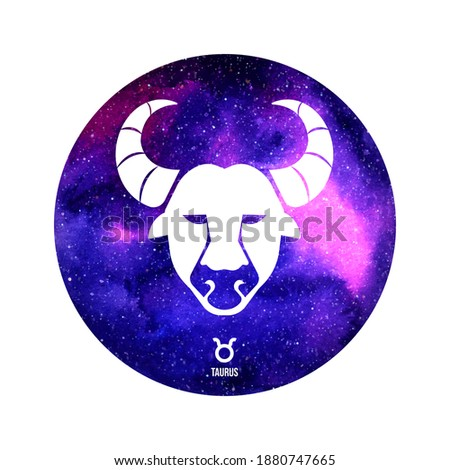 Taurus horoscope sign in twelve zodiac with galaxy stars background Stock photo ©