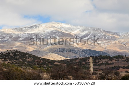 Taurus Mountains.  Snow capped Taurus mountain tops are pictured in south western Turkey.