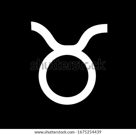 Taurus zodiac sign. Design illustration. Taurus horoscope sign, symbol, icon for your design. Simple line taurus zodiac icon. Taurus isolated icon on black background. Can be used for web or mobile.