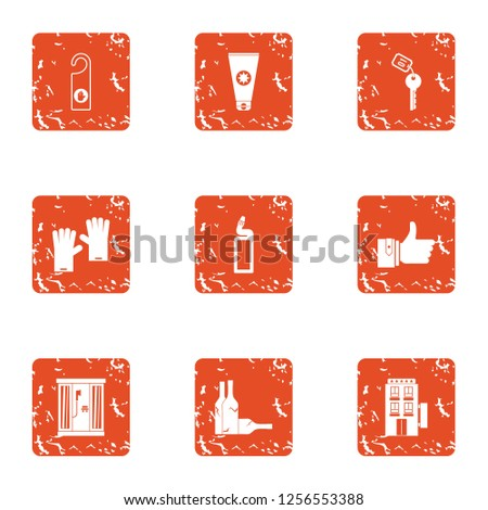 Tavern icons set. Grunge set of 9 tavern icons for web isolated on white background