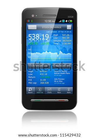 Tax, accounting and making money concept: black glossy business touchscreen smartphone with stock exchange market financial application isolated on white background with reflection effect