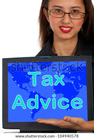 Tax Advice Computer Message Showing Taxation Help Online