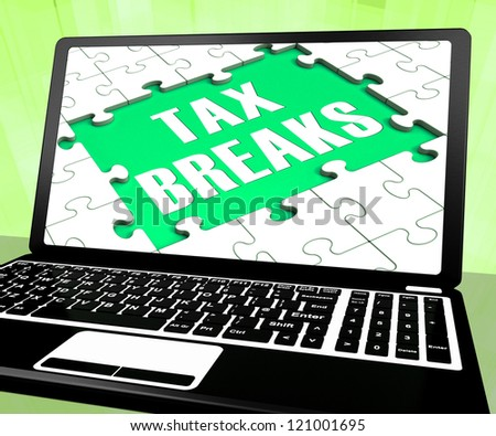 Tax Breaks On Laptop Shows Internet Paying And Budget Deduction