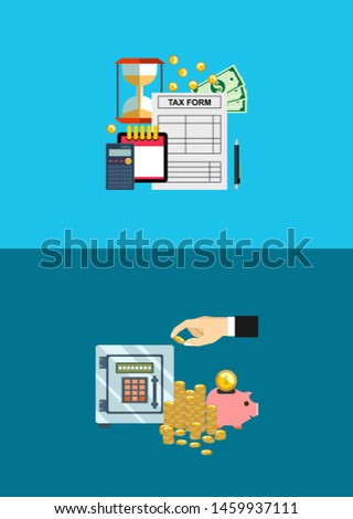 Tax calculation, budget calculation, accounting, paperwork concept. Flat design business illustration concept Investment hand hold money coin for website and promotion banners