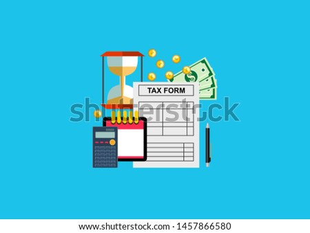 Tax calculation, budget calculation, accounting, paperwork concept. Top view.