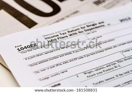Tax Form 1040ez With Separate Set Of Instructions Ez Canvas