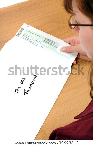 Tax form is pepared to send to the tax office. The text AN DAS FINANZAMT means To the tax office