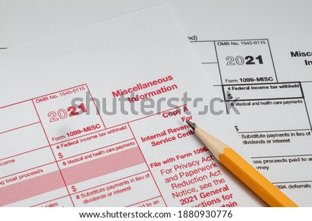 Tax Form 1099-misc on a white background Stock foto ©