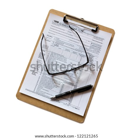 tax form on clipboard