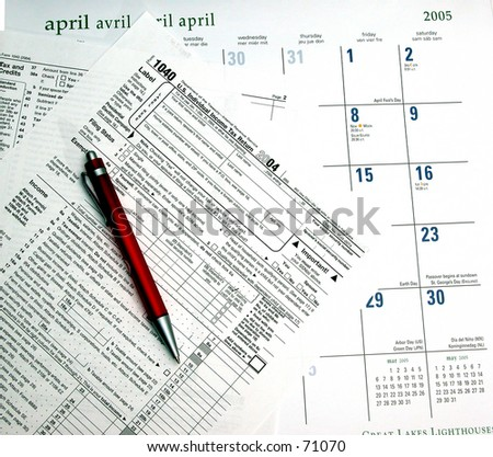 Tax form with calendar and pen