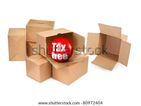 tax free concept - cardboard boxes and 3D sale ball, photo does not infringe any copyright