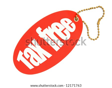 tax free price tag against white background, there is no infringement of trademark copyright
