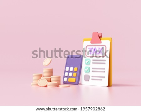 Tax payment and business tax concept. Coins, calculator and tax form on pink background. 3d render illustration