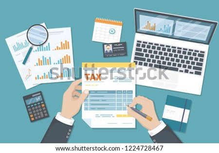 Tax payment concept. State Government taxation, calculation of tax return. Man fills the tax form, documents, calendar, calculator, laptop. Pay the bills, invoices, payrolls. Raster illustration.