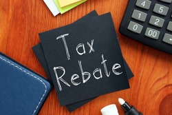 Tax rebate is shown on the conceptual business photo