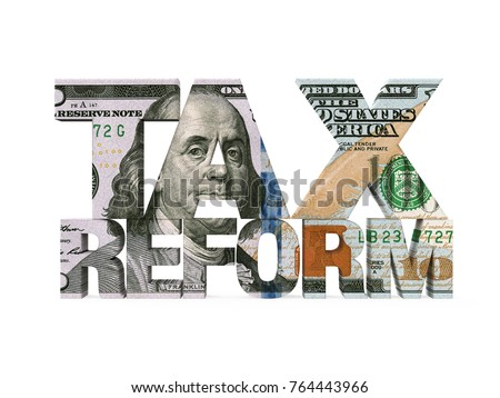 Tax Reform Dollar Isolated. 3D rendering